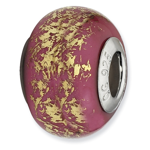 Sterling Silver Reflections Dark Pink with Gold Foil Ceramic Bead