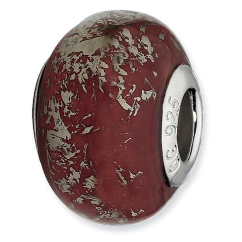 Sterling Silver Reflections Dark Red with Platinum Foil Ceramic Bead