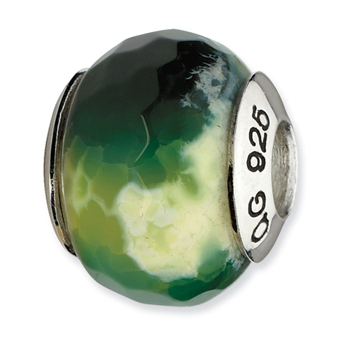 Sterling Silver Reflections Green Cracked Agate with Shell Stone Bead