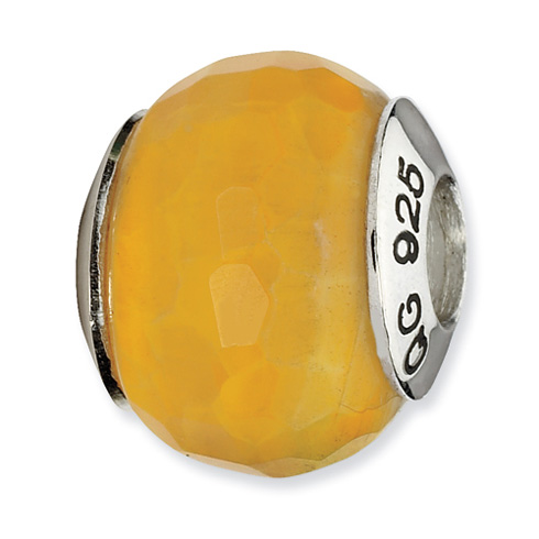 Sterling Silver Reflections Yellow Cracked Agate with Shell Stone Bead