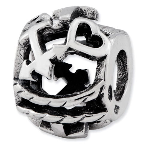 Sterling Silver Reflections Cross Heart Anchor Bali Bead