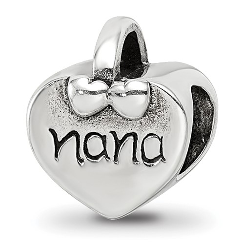 Sterling Silver Reflections Nana Heart Bead