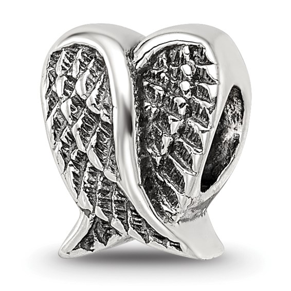 Sterling Silver Reflections Heart Shaped Wings Bead