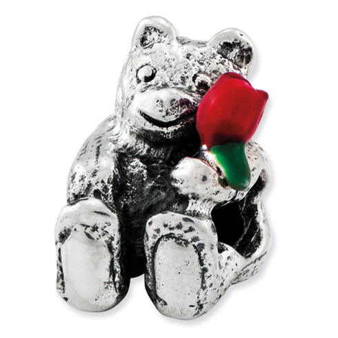 Sterling Silver Kids Reflections Bear with Flower Bead