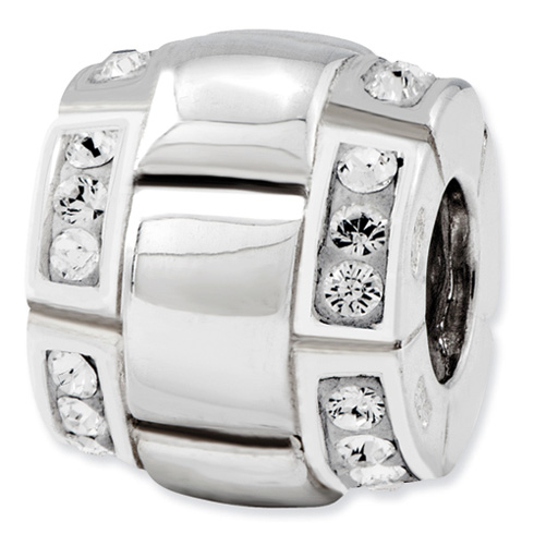 Sterling Silver Reflections Clear CZ Bali Bead