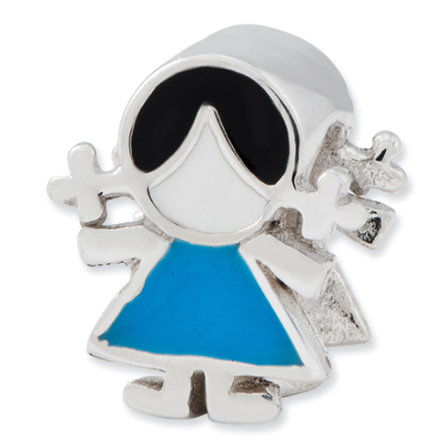 Sterling Silver Reflections Blue Dress Girl Bead