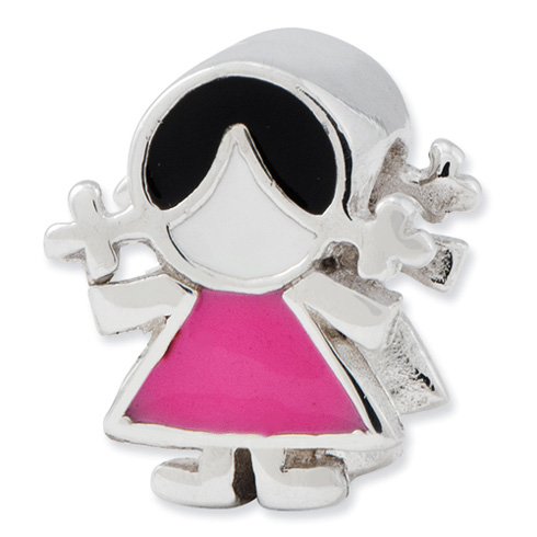 Sterling Silver Reflections Pink Dress Girl Bead