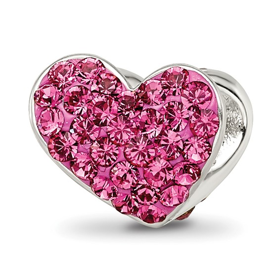 Sterling Silver Reflections Pink Swarovski Elements Heart Bead