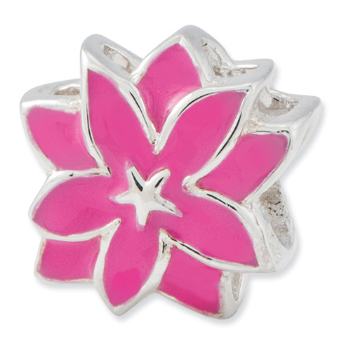 Sterling Silver Reflections Pink Enameled Flower Bead