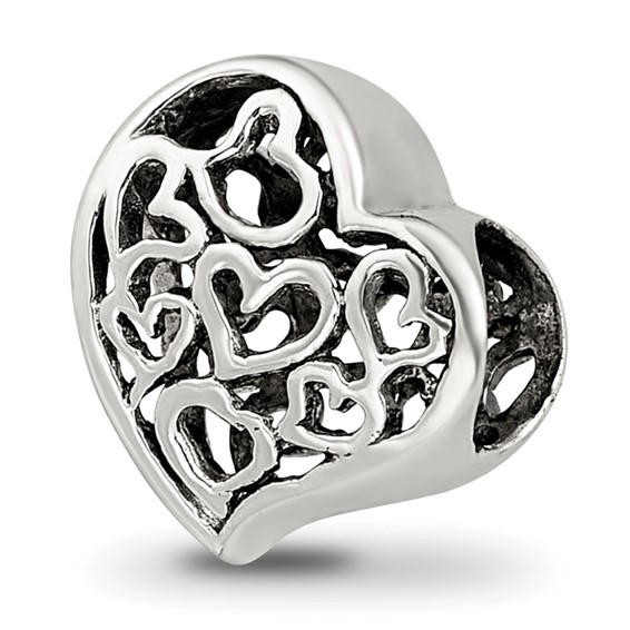 Sterling Silver Reflections Cutout Hearts Bead