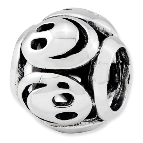 Sterling Silver Reflections Smiley Faces Bead