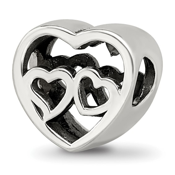 Sterling Silver Reflections Two Hearts Bead