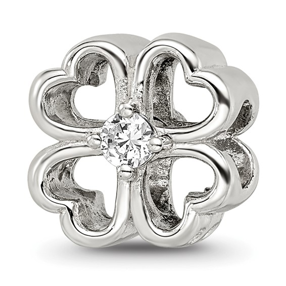 Sterling Silver Reflections Four Leaf Clover with CZ Bead