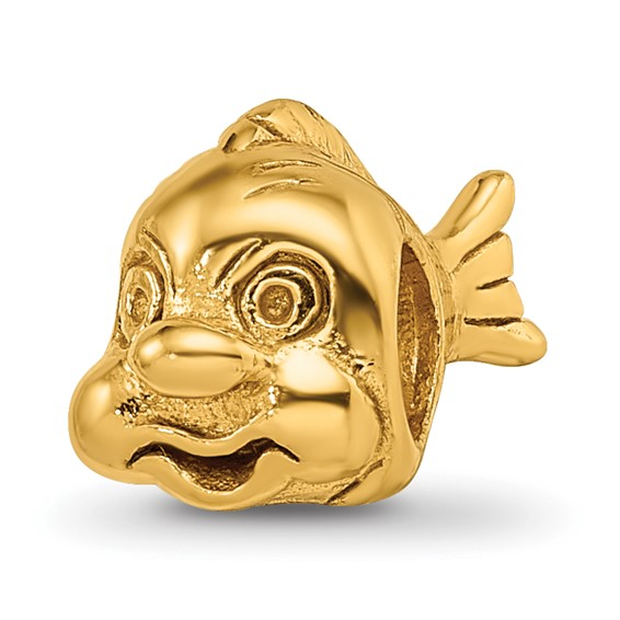 Sterling Silver Gold-plated Reflections Fish Bead
