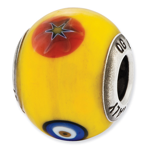 Sterling Silver Reflections Yellow with Decorative Accents Glass Bead