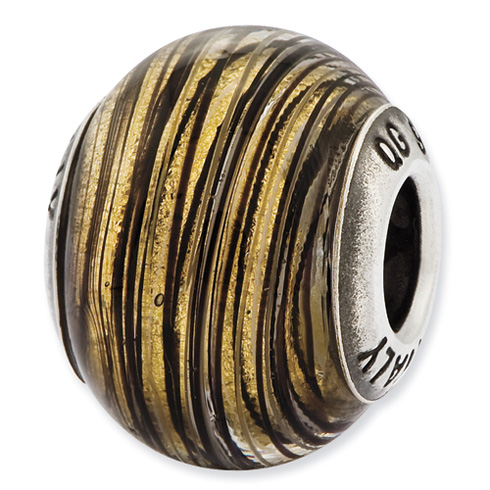 Sterling Silver Reflections Italian Murano Yellow Stripes Glass Bead