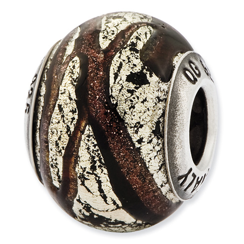 Sterling Silver Reflections Italian Brown and Silver Colored Glass Bead