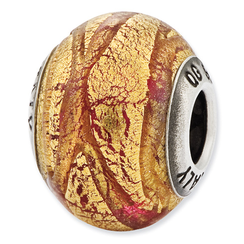 Sterling Silver Italian Copper and Gold Colored Glass Bead