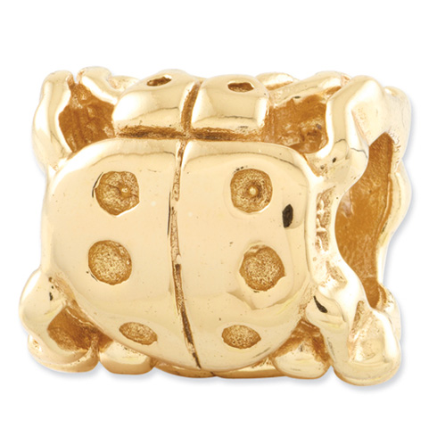 Sterling Silver Gold-plated Reflections Ladybug Bead