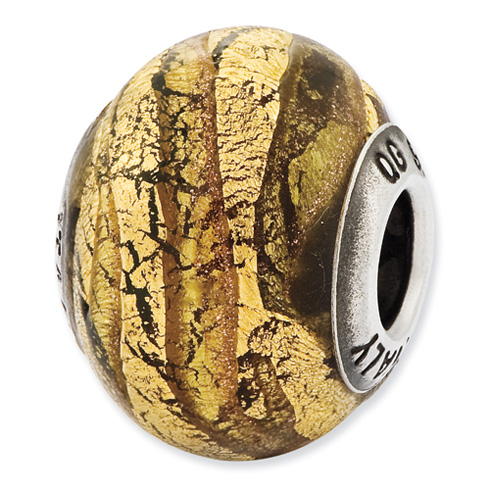Sterling Silver Reflections Italian Light Bronze and Gold Colored Glass Bead