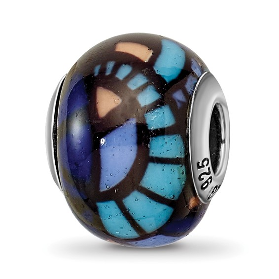 Sterling Silver Reflections Italian Blue Decorative Overlay Glass Bead