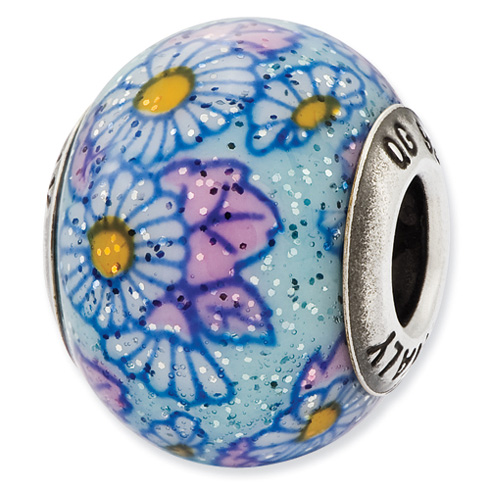 Sterling Silver Reflections Italian Blue Floral Overlay Glass Bead