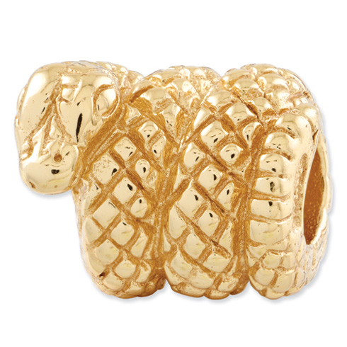 Sterling Silver Gold-plated Reflections Snake Bead