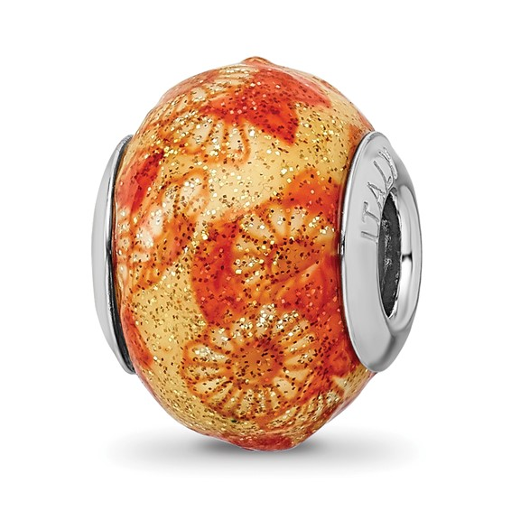 Sterling Silver Reflections Italian Orange Flower Overlay Glass Bead