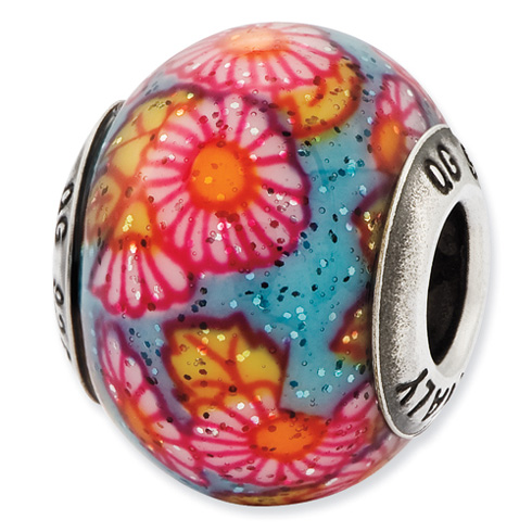 Sterling Silver Reflections Multicolor Floral Overlay Glass Bead