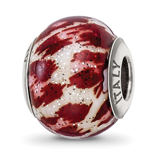 Sterling Silver Reflections Italian Pink and Brown Glitter Glass Bead