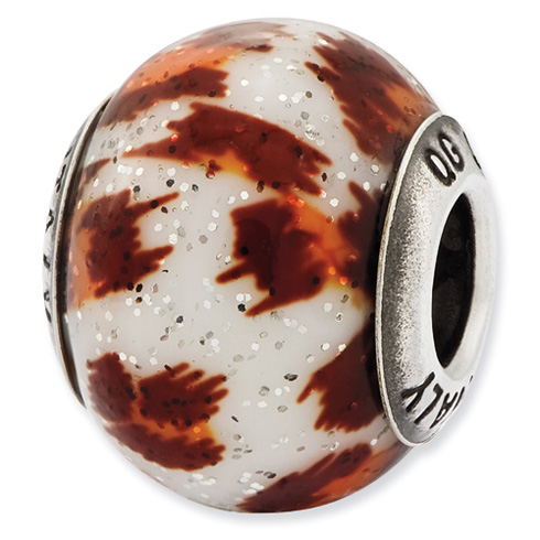 Sterling Silver Italian Orange and Brown with Glitter Glass Bead