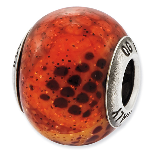 Sterling Silver Reflections Italian Pink and Orange Python Glass Bead