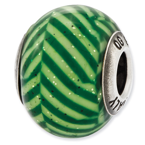 Sterling Silver Reflections Italian Green Stripes Glitter Glass Bead