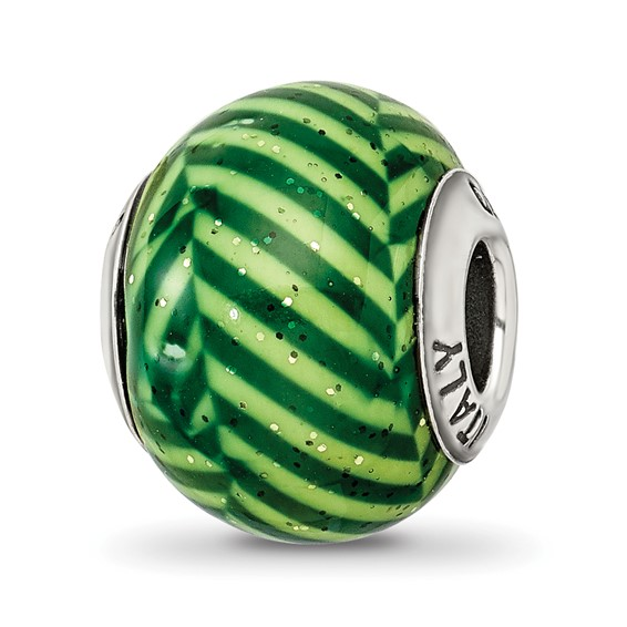 Sterling Silver Reflections Italian Green Stripes with Glitter Glass Bead