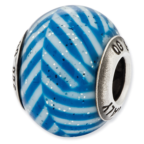 Sterling Silver Reflections Italian Blue Stripes Glitter Glass Bead