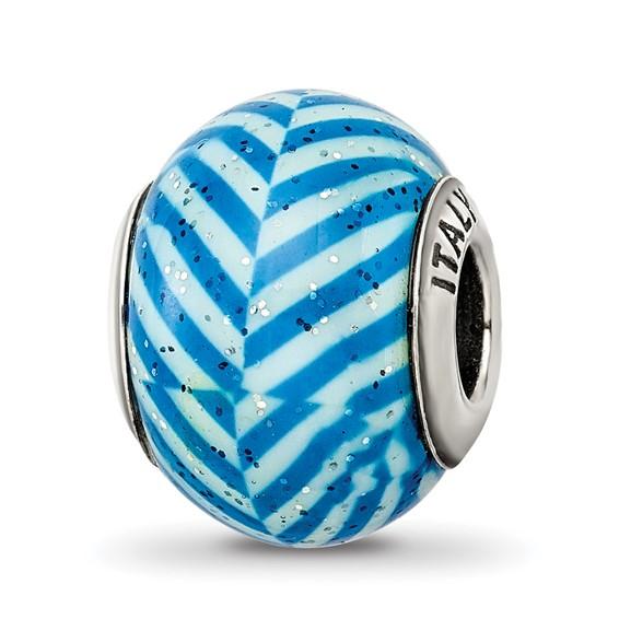 Sterling Silver Reflections Italian Blue Stripes Glitter Glass Bead