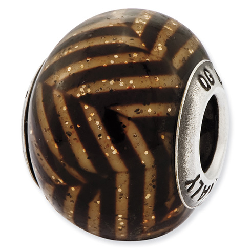 Sterling Silver Reflections Italian Brown Stripes Glitter Glass Bead