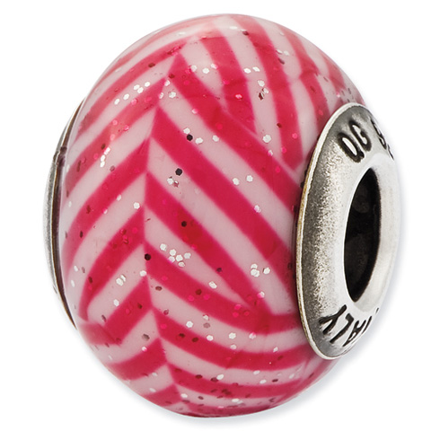 Sterling Silver Reflections Italian Pink Stripes Glitter Glass Bead
