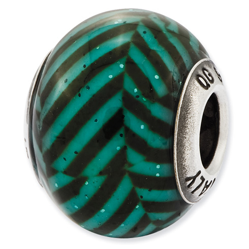 Sterling Silver Reflections Italian Teal Stripes with Glitter Glass Bead