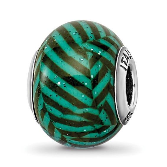 Sterling Silver Reflections Italian Teal Stripes Glitter Glass Bead