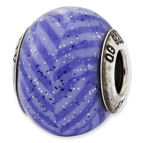 Sterling Silver Reflections Italian Purple Stripes with Glitter Glass Bead