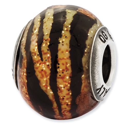 Sterling Silver Variegated Italian OrangeYellow and Black Glass Bead
