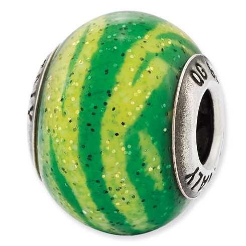 Sterling Silver Reflections Italian Green Stripes Glass Bead