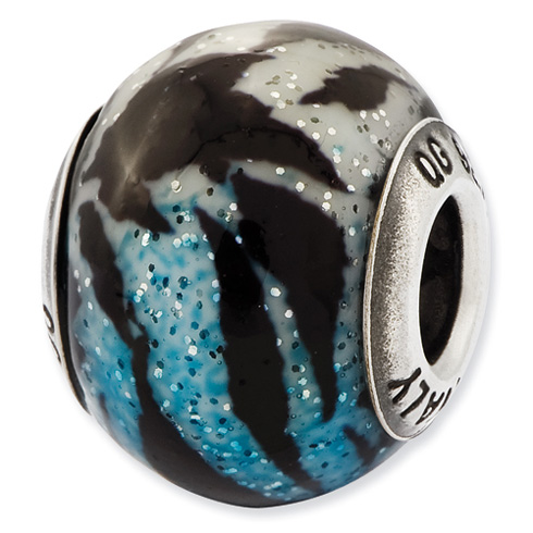 Sterling Silver Italian Variegated Blue and Black Stripes Glass Bead