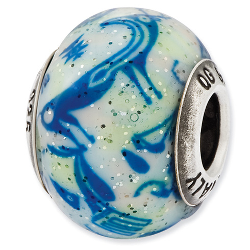 Sterling Silver Reflections Italian Decorative Blue and White Glass Bead