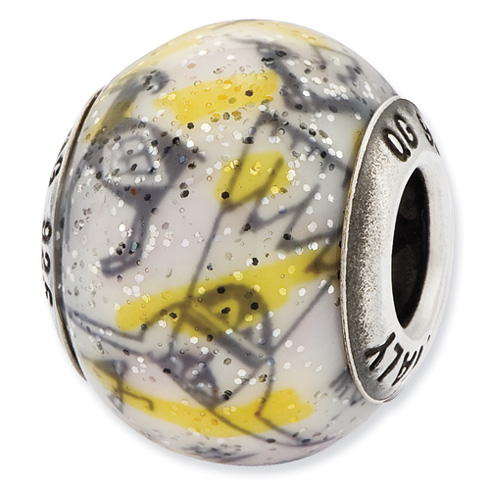 Sterling Silver Italian Decorative Yellow and White Glass Bead
