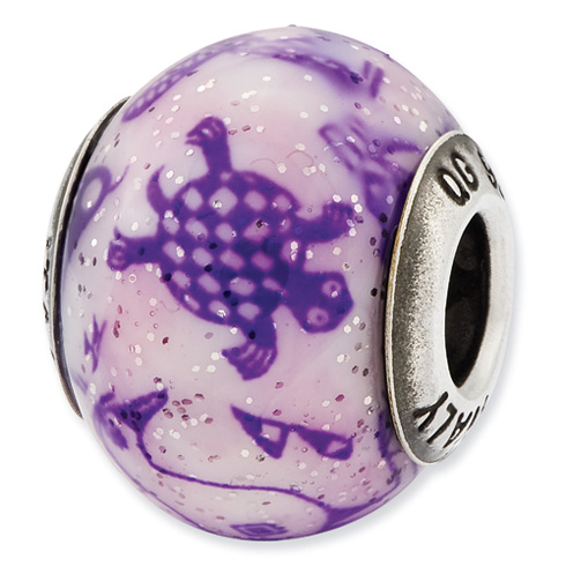 Sterling Silver Reflections Purple Turtle Bird Glass Bead