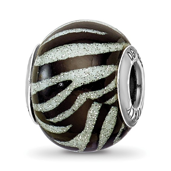 Sterling Silver Reflections Italian Black and White Stripes Glass Bead
