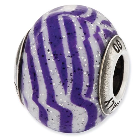 Sterling Silver Reflections Italian Purple and White Stripes Glass Bead