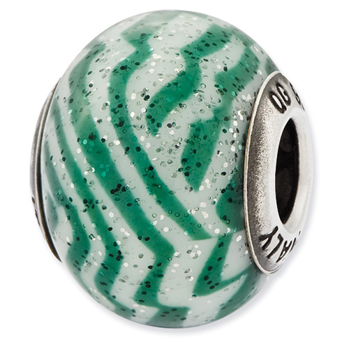 Sterling Silver Reflections Italian Green and White Stripes Glass Bead